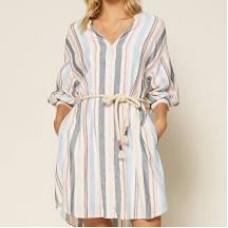 98250 Striped LS Shirtdress