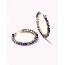 Ann Beaded Hoop Earrings Blue Sodalite