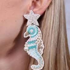 Embellished Seahorse Beaded Earring