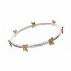 Gold Butterfly Station on Silver Bangle