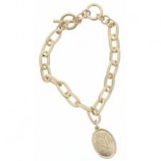 Gold Toggle Chain Dandelion Stamped Oval Charm