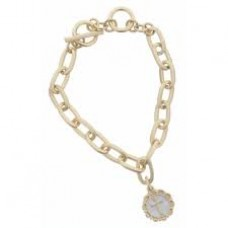 Gold Toggle Chain Gold Cross in White Enamel Charm