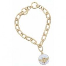 Gold Toggle Chain with Bee White Enamel Charm