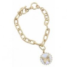 Gold Toggle Chain with Butterfly White Enamel Charm