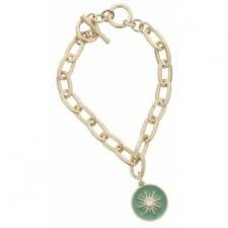 Gold Toggle Chain with Clear Czech Center Sun in Mint Green Enamel Charm