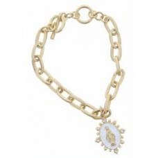 Gold Toggle Chain with Gold Virgin Mary in White Enamel Charm