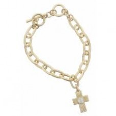Gold Toggle Chain with Textured Cross with Opal Czech Center Stone