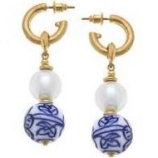 Margaret  Chinoiserie & Pearl Drop Hoop Earrings