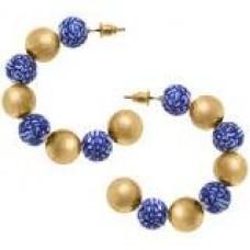 Meomi  Chinoiserie & Ball Bead Hoop Earrings