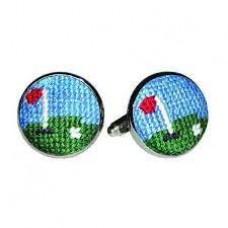 Needlepoint Cufflinks-Golf Green
