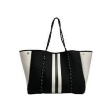 Neoprene Tote-Black/White Stripe