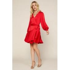 98794 Surplice Wrap Ruffled Sleeve Dress