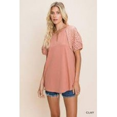 Washed Cotton Knit Top w/Eyelet Sleeve