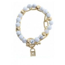 Set of 2, Howlite Beaded with Gold Chain Link and Lock Charm Bracelet