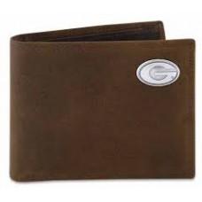 UGA Passcase Wallet- Lt Brown