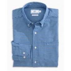 M. L/S Channel MarkerGingham Sportshirt-H. Blue