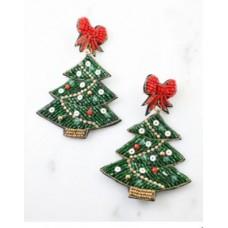 Christmas Tree w/ Bow Beaded Earring