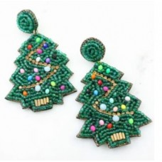 Decorated Christmas Tree Beaded Earring