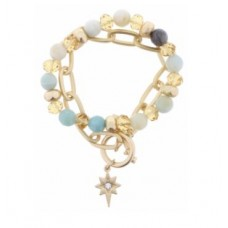 Set of 2, Amazonite and Champagne Beaded with Gold Chain Link Toggle and Crystal Star Charm Bracelet