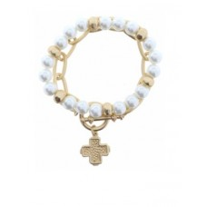 Set of 2, Pearl Beaded with Gold Chain Link and Cross Charm Bracelet