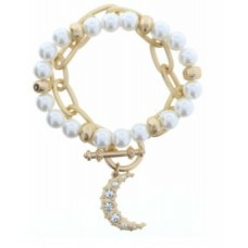 Set of 2, Pearl Beaded with Gold Chain Link Toggle and Moon with Crystals Charm Bracelet