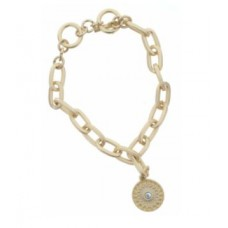 Gold Toggle Chain with AB Clear Center Stone in Morrocan Inspired Charm