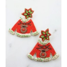 Rudolph Christmas Sweater Beaded Earring