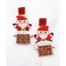 Santa Coming Down the Chimney Earring
